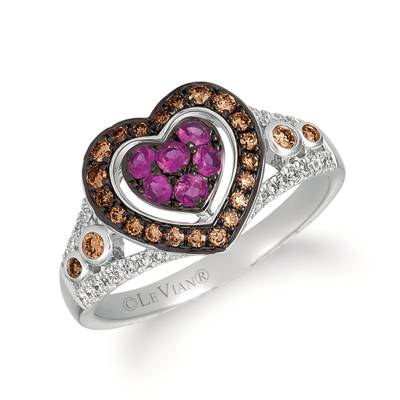 14K Vanilla Gold® Bubble Gum Pink Sapphire™ 1/4 cts. Ring with Chocolate Diamonds® 1/5 cts., Vanilla Diamonds® 1/10 cts. | WATL 16